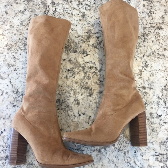 7b9a7a9efe1 Candie s Shoes - Candies knee-high boots block heel tan size 7.5